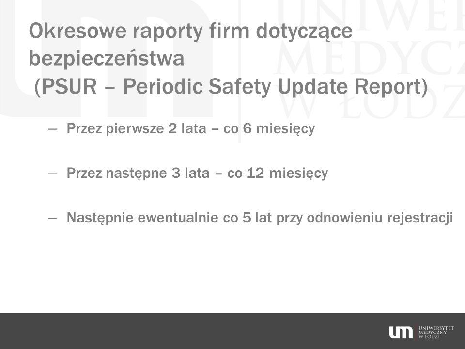 Okresowe raporty firm dotyczące bezpieczeństwa (PSUR – Periodic Safety Update Report)