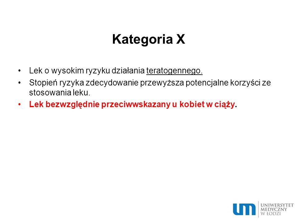 Kategoria X Lek o wysokim ryzyku działania teratogennego.