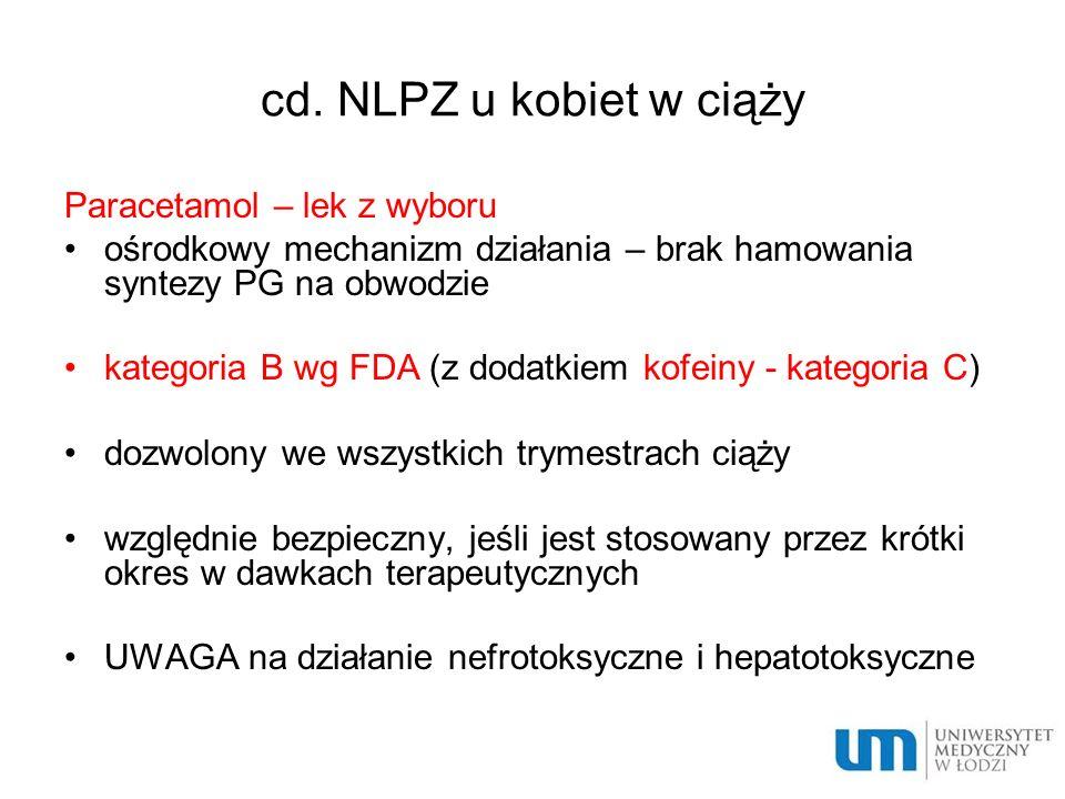 cd. NLPZ u kobiet w ciąży Paracetamol – lek z wyboru
