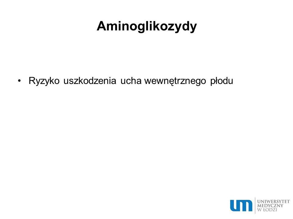 Aminoglikozydy Ryzyko uszkodzenia ucha wewnętrznego płodu