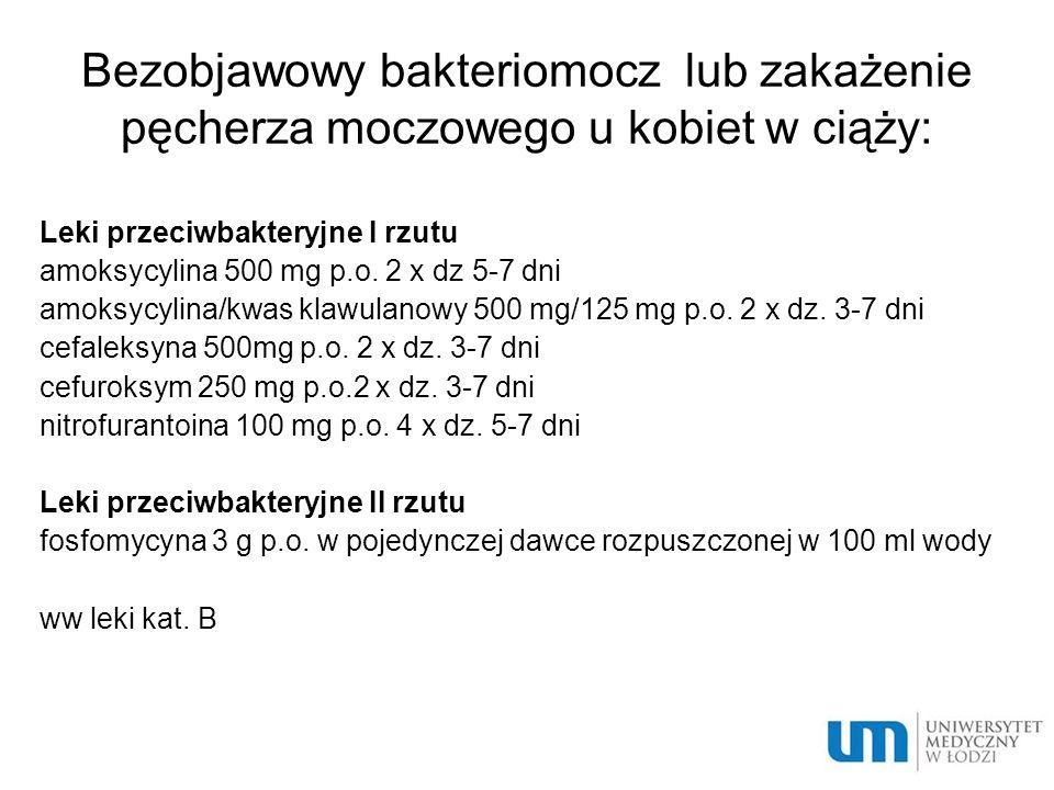 Bezobjawowy bakteriomocz lub zakażenie pęcherza moczowego u kobiet w ciąży:
