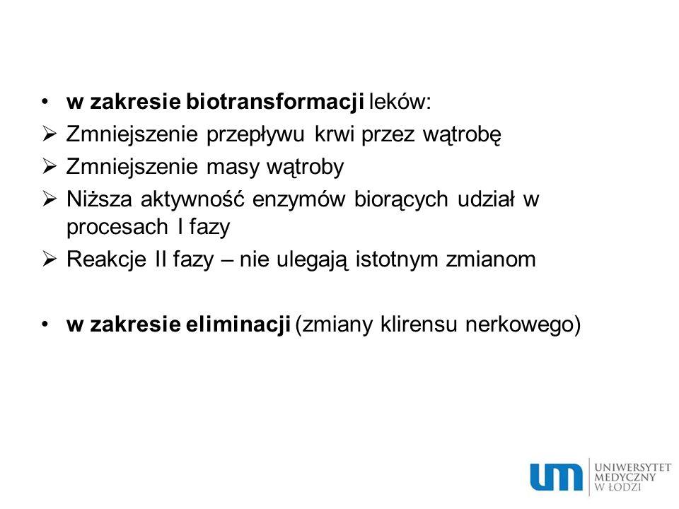 w zakresie biotransformacji leków: