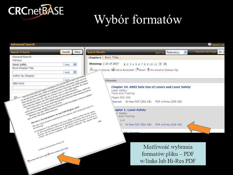 Możliwość wybrania formatów pliku – PDF w/links lub Hi-Res PDF