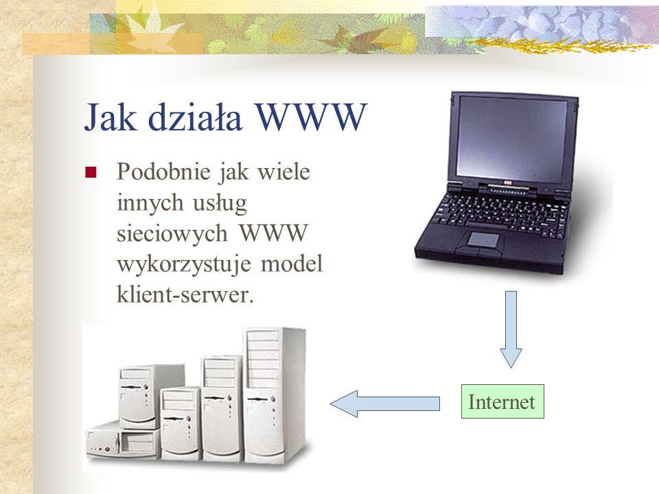 Jak działa WWW Podobnie jak wiele innych usług sieciowych WWW wykorzystuje model klient-serwer.