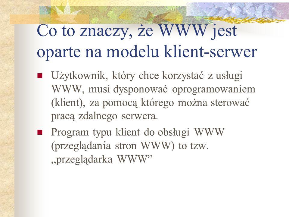 Co to znaczy, że WWW jest oparte na modelu klient-serwer