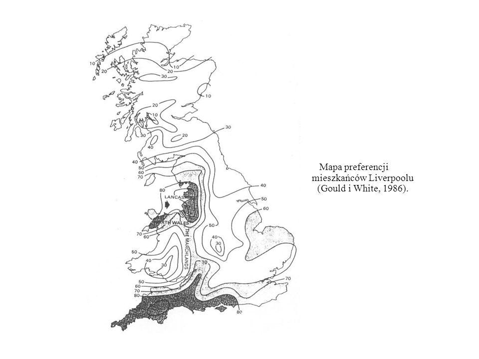 Mapa preferencji mieszkańców Liverpoolu (Gould i White, 1986).