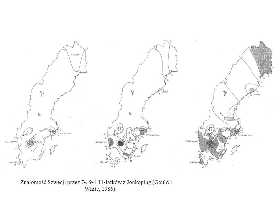 Znajomość Szwecji przez 7-, 9- i 11-latków z Jonkoping (Gould i White, 1986).