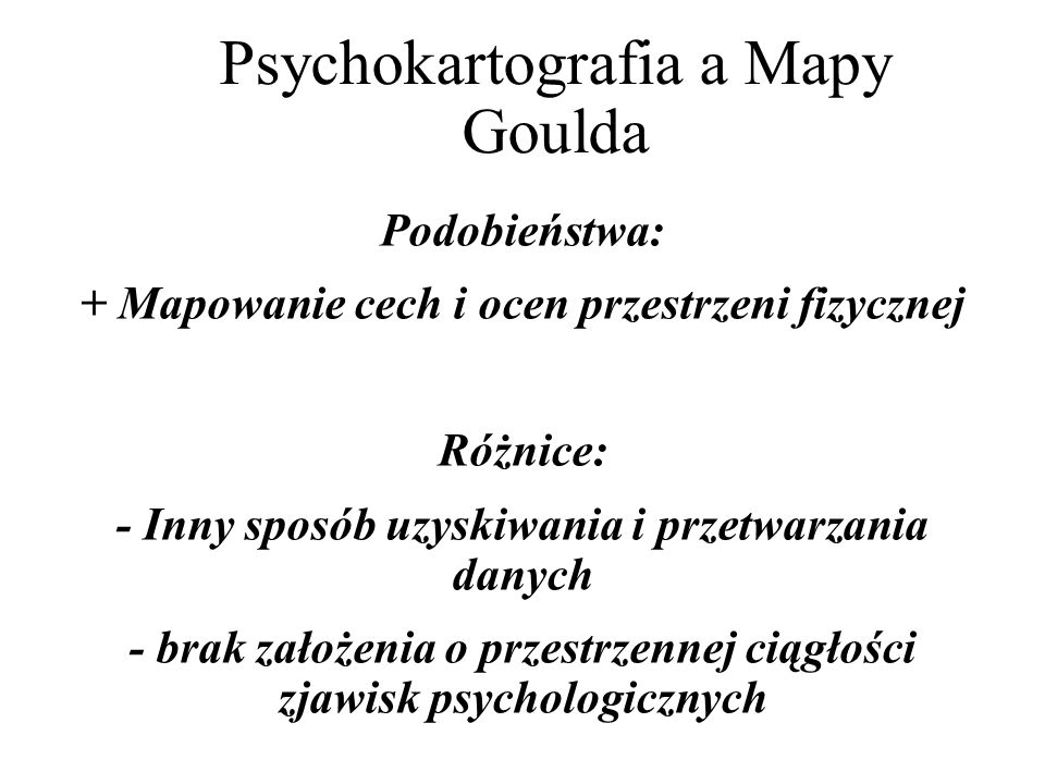 Psychokartografia a Mapy Goulda
