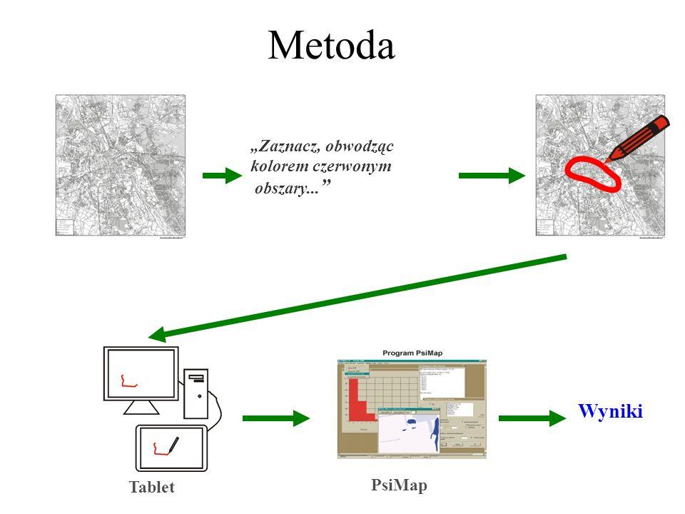 """Metoda Wyniki """"Zaznacz, obwodząc kolorem czerwonym obszary... PsiMap"""