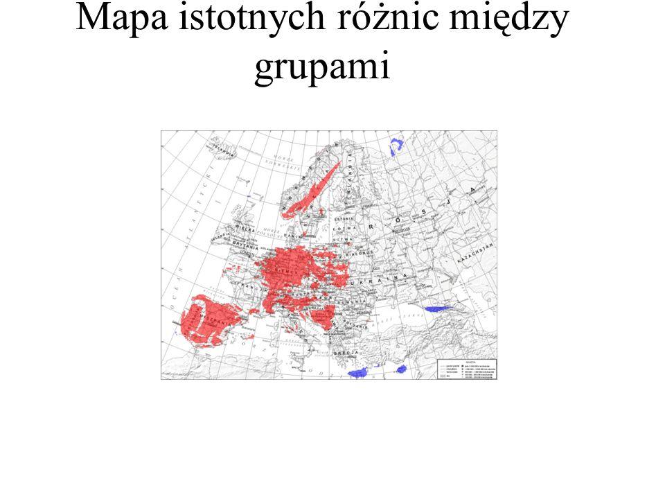Mapa istotnych różnic między grupami