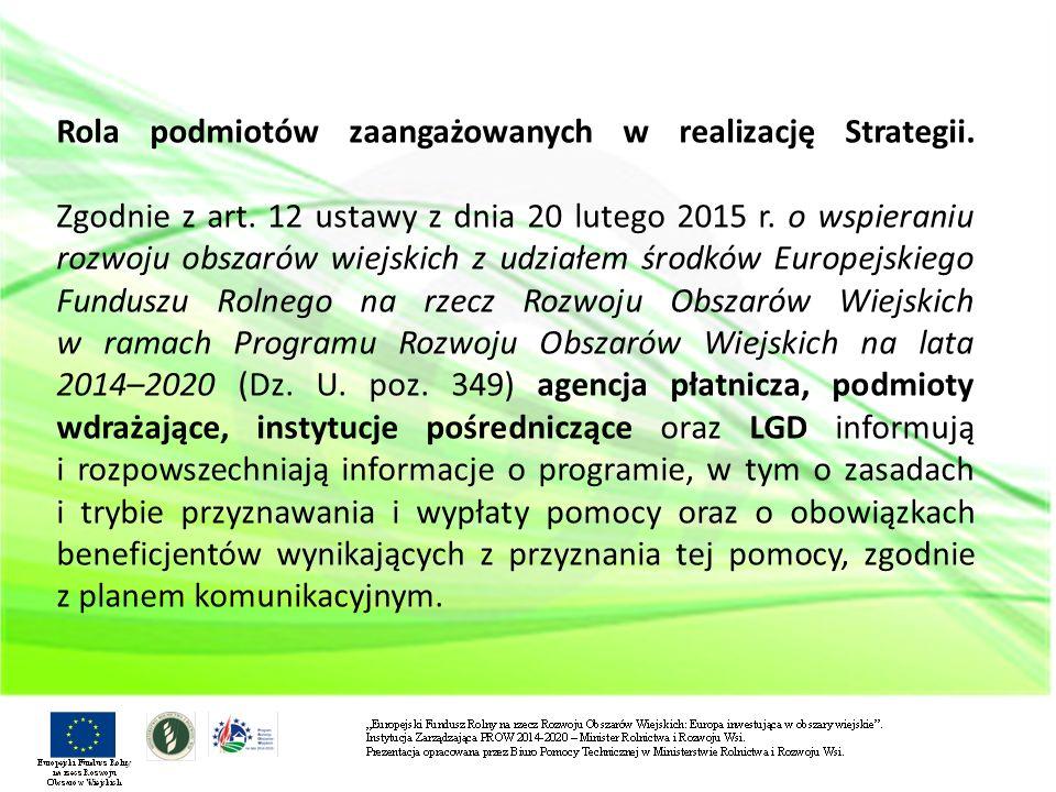 Rola podmiotów zaangażowanych w realizację Strategii. Zgodnie z art