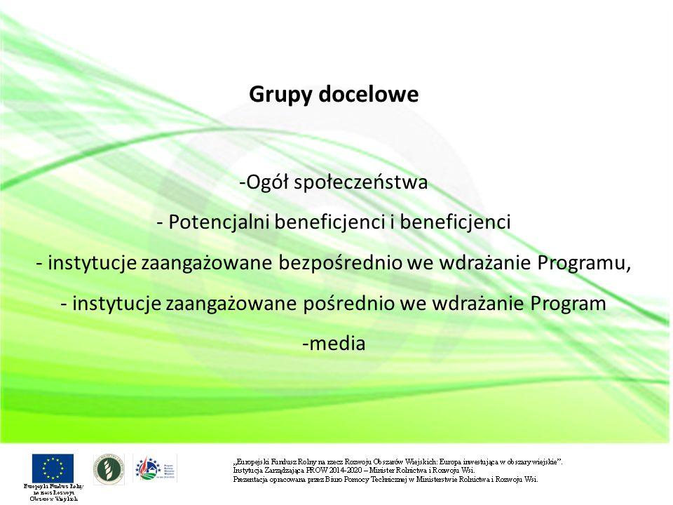Grupy docelowe -Ogół społeczeństwa - Potencjalni beneficjenci i beneficjenci - instytucje zaangażowane bezpośrednio we wdrażanie Programu, - instytucje zaangażowane pośrednio we wdrażanie Program -media