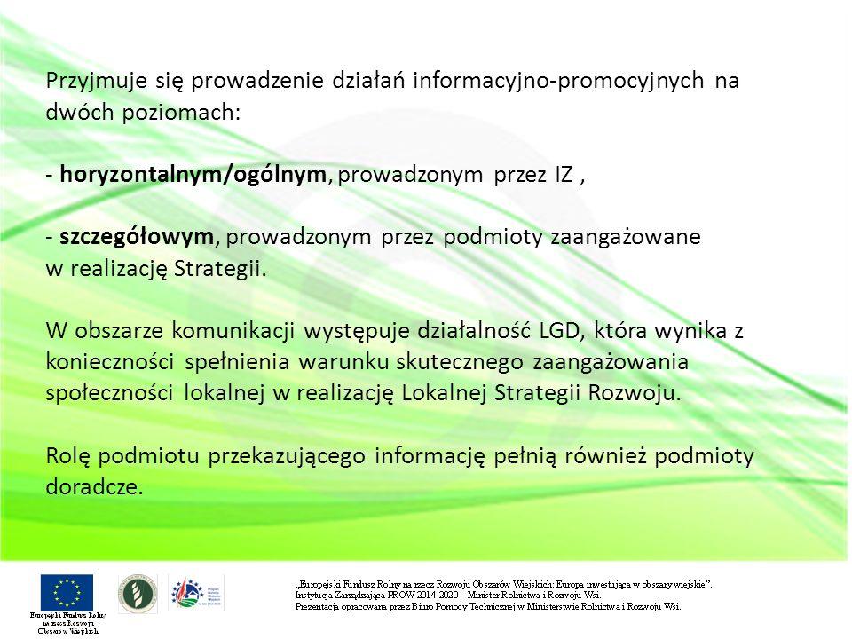 Przyjmuje się prowadzenie działań informacyjno-promocyjnych na dwóch poziomach: - horyzontalnym/ogólnym, prowadzonym przez IZ , - szczegółowym, prowadzonym przez podmioty zaangażowane w realizację Strategii.