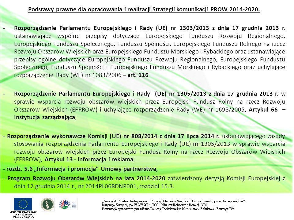 Podstawy prawne dla opracowania i realizacji Strategii komunikacji PROW 2014-2020.