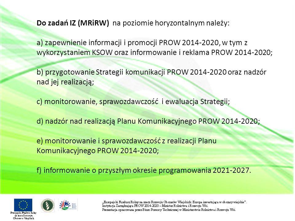 Do zadań IZ (MRiRW) na poziomie horyzontalnym należy: a) zapewnienie informacji i promocji PROW 2014-2020, w tym z wykorzystaniem KSOW oraz informowanie i reklama PROW 2014-2020; b) przygotowanie Strategii komunikacji PROW 2014-2020 oraz nadzór nad jej realizacją; c) monitorowanie, sprawozdawczość i ewaluacja Strategii; d) nadzór nad realizacją Planu Komunikacyjnego PROW 2014-2020; e) monitorowanie i sprawozdawczość z realizacji Planu Komunikacyjnego PROW 2014-2020; f) informowanie o przyszłym okresie programowania 2021-2027.