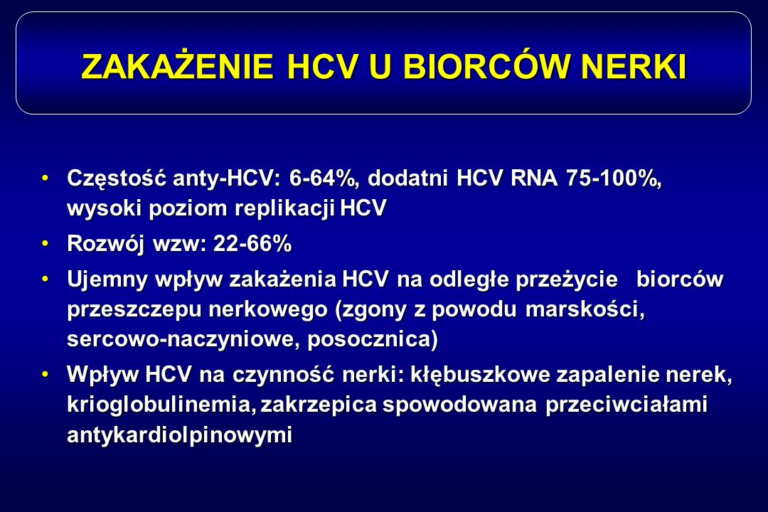 ZAKAŻENIE HCV U BIORCÓW NERKI