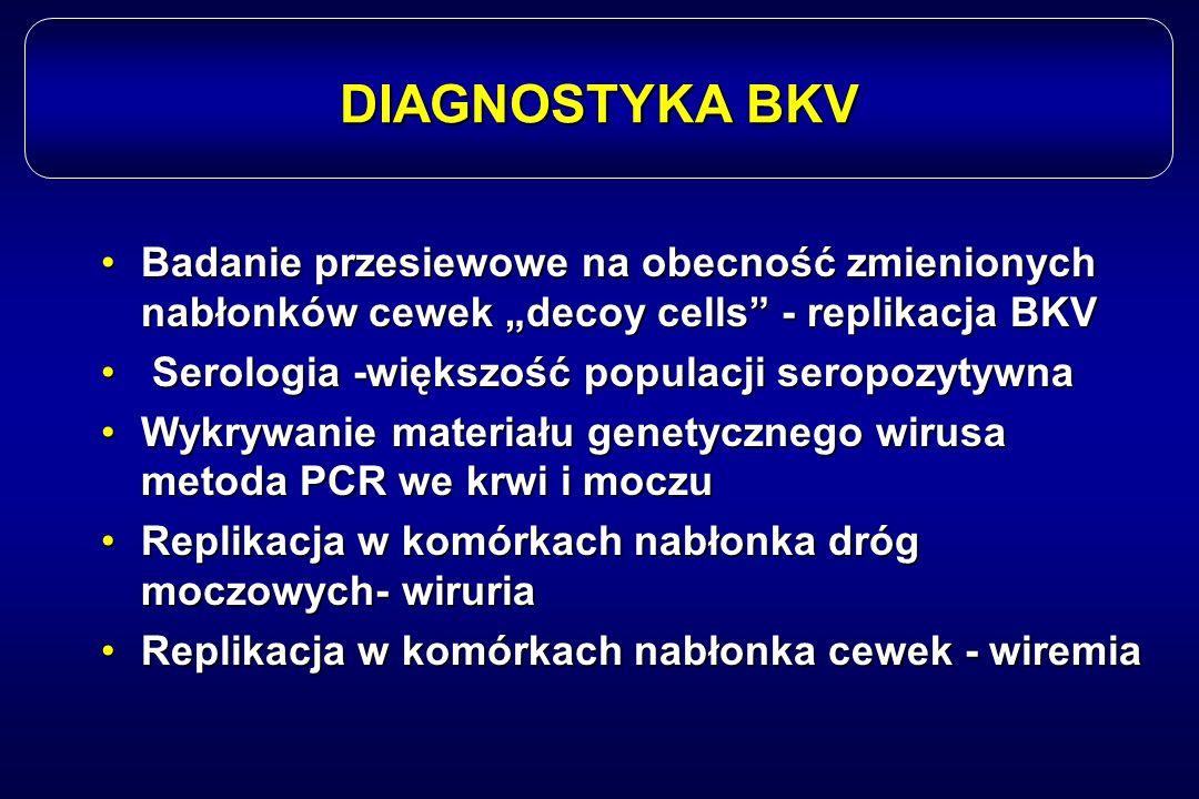 """DIAGNOSTYKA BKV Badanie przesiewowe na obecność zmienionych nabłonków cewek """"decoy cells - replikacja BKV."""