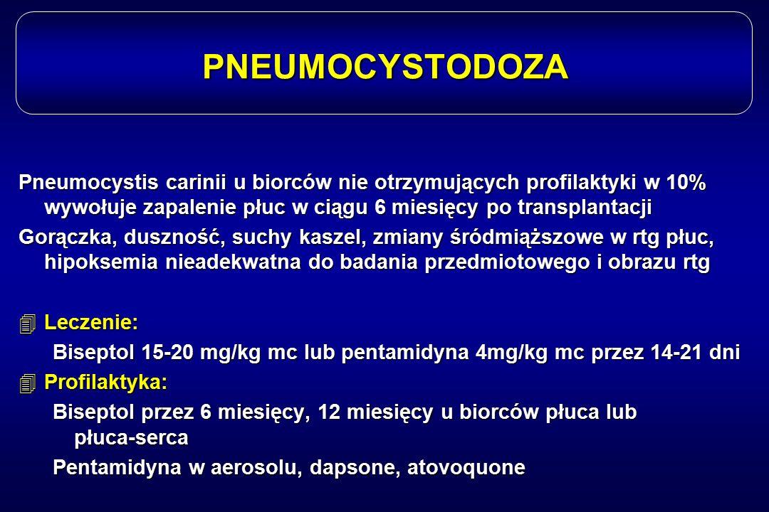 PNEUMOCYSTODOZA Pneumocystis carinii u biorców nie otrzymujących profilaktyki w 10% wywołuje zapalenie płuc w ciągu 6 miesięcy po transplantacji.