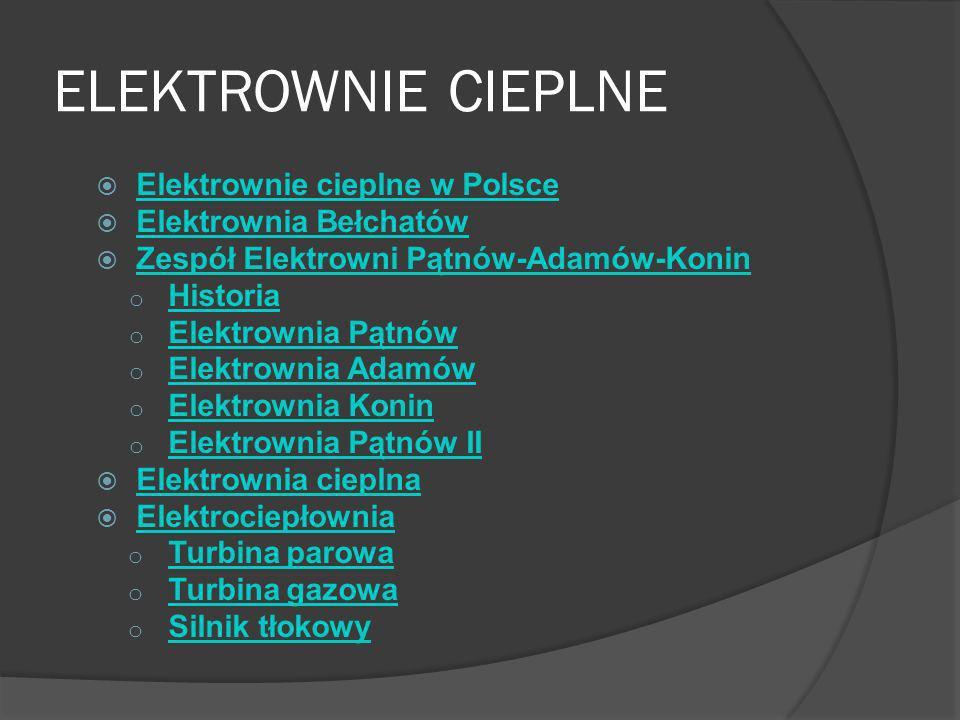 ELEKTROWNIE CIEPLNE Elektrownie cieplne w Polsce Elektrownia Bełchatów
