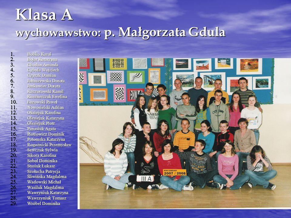 Klasa A wychowawstwo: p. Małgorzata Gdula