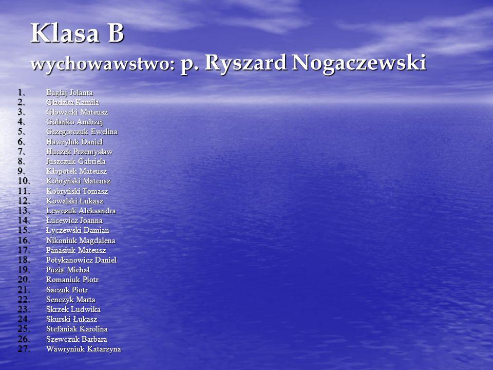 Klasa B wychowawstwo: p. Ryszard Nogaczewski