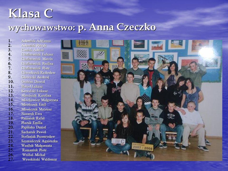Klasa C wychowawstwo: p. Anna Czeczko