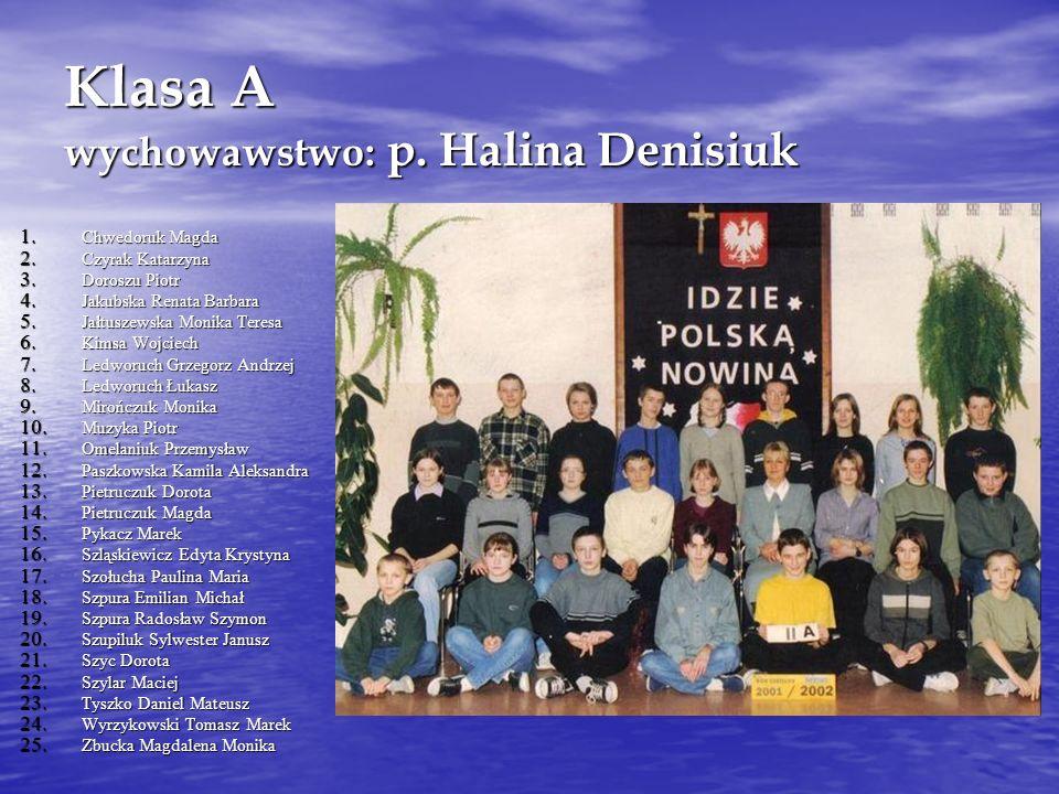 Klasa A wychowawstwo: p. Halina Denisiuk