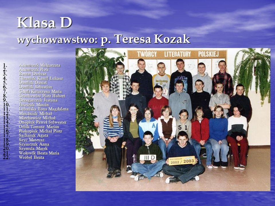 Klasa D wychowawstwo: p. Teresa Kozak