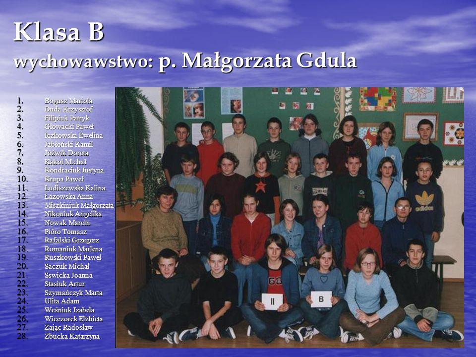 Klasa B wychowawstwo: p. Małgorzata Gdula