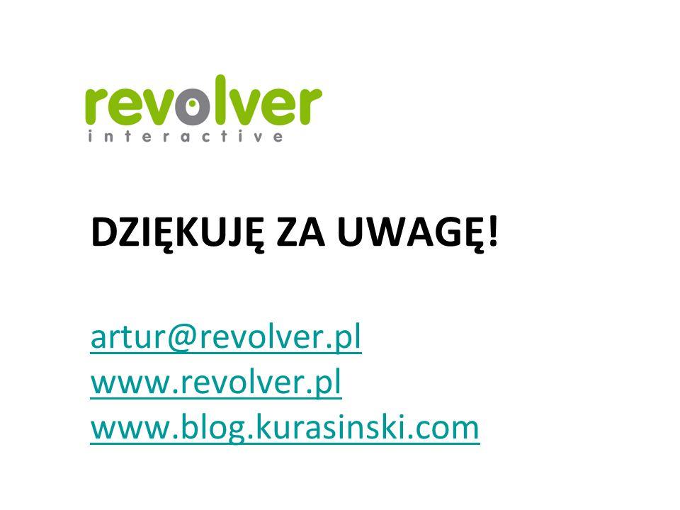 DZIĘKUJĘ ZA UWAGĘ. artur@revolver. pl www. revolver. pl www. blog