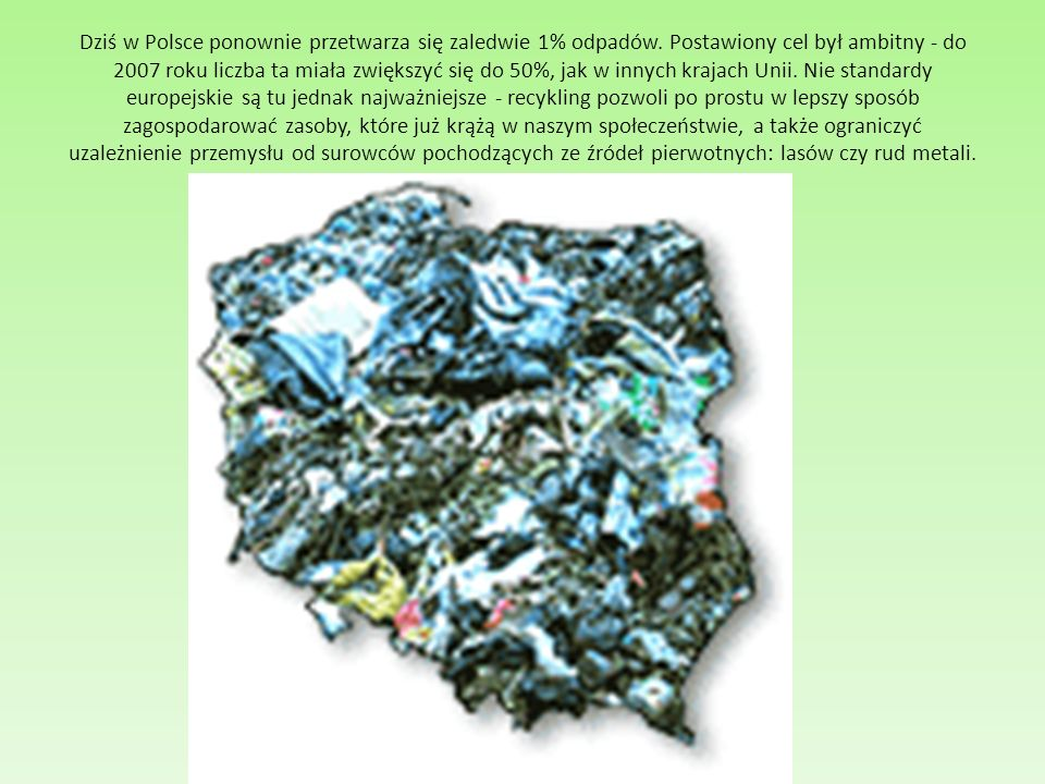 Dziś w Polsce ponownie przetwarza się zaledwie 1% odpadów