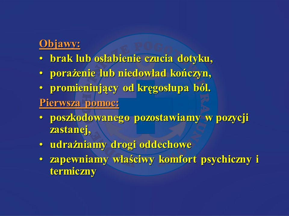 Objawy: brak lub osłabienie czucia dotyku, porażenie lub niedowład kończyn, promieniujący od kręgosłupa ból.