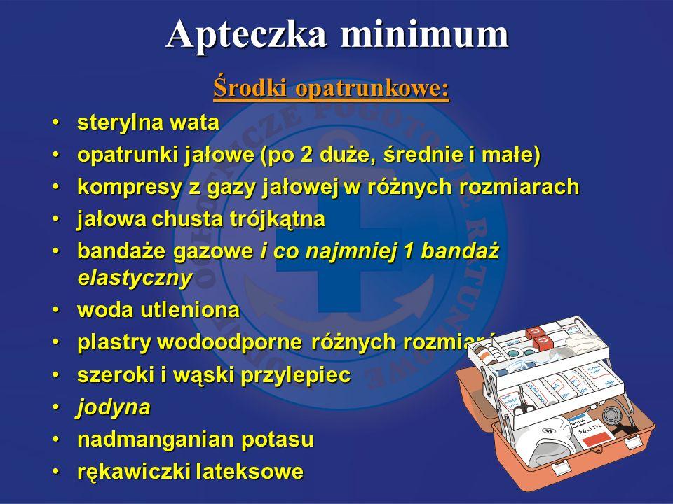 Apteczka minimum Środki opatrunkowe: sterylna wata