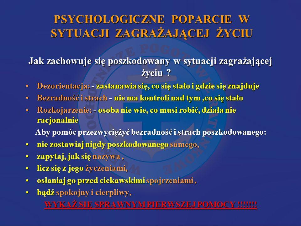 PSYCHOLOGICZNE POPARCIE W SYTUACJI ZAGRAŻAJĄCEJ ŻYCIU