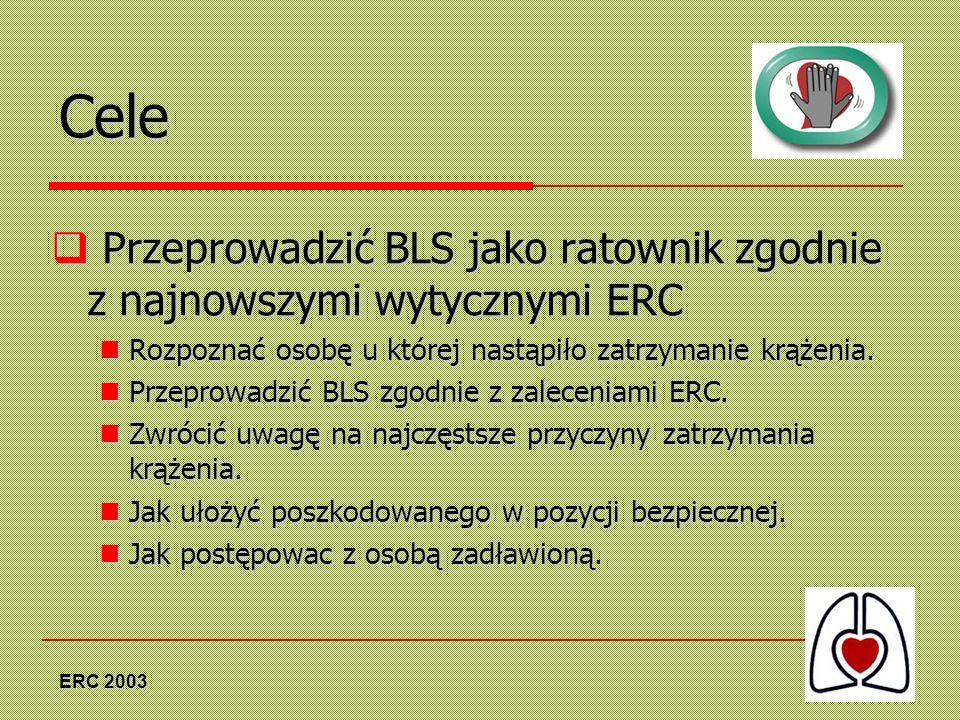 Cele Przeprowadzić BLS jako ratownik zgodnie z najnowszymi wytycznymi ERC. Rozpoznać osobę u której nastąpiło zatrzymanie krążenia.