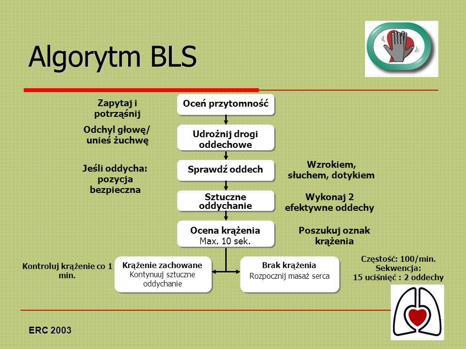 Algorytm BLS Zapytaj i potrząśnij Oceń przytomność