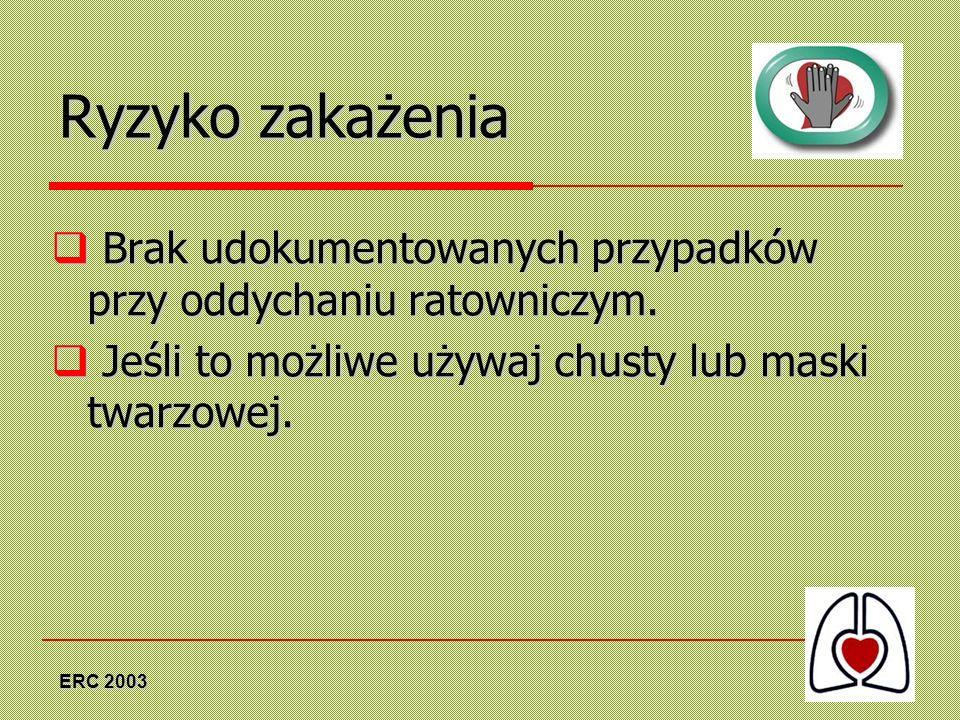 Ryzyko zakażeniaBrak udokumentowanych przypadków przy oddychaniu ratowniczym. Jeśli to możliwe używaj chusty lub maski twarzowej.