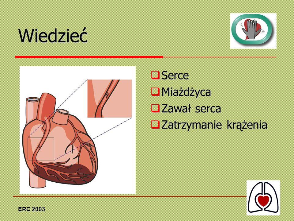 Wiedzieć Serce Miażdżyca Zawał serca Zatrzymanie krążenia ERC 2003
