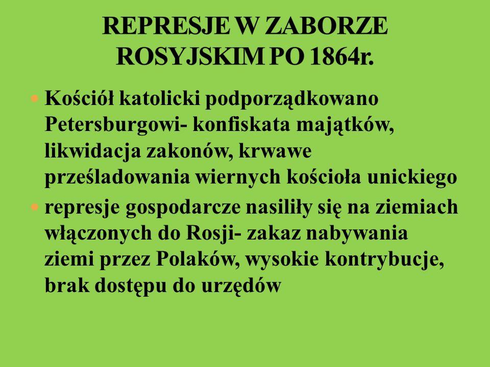 REPRESJE W ZABORZE ROSYJSKIM PO 1864r.
