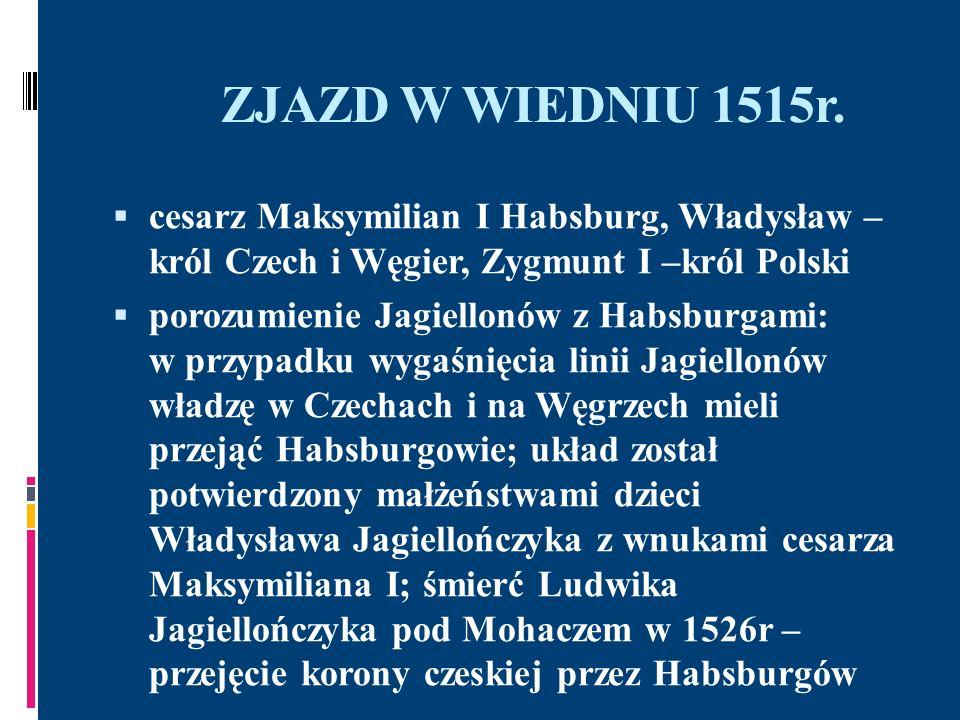ZJAZD W WIEDNIU 1515r. cesarz Maksymilian I Habsburg, Władysław – król Czech i Węgier, Zygmunt I –król Polski.