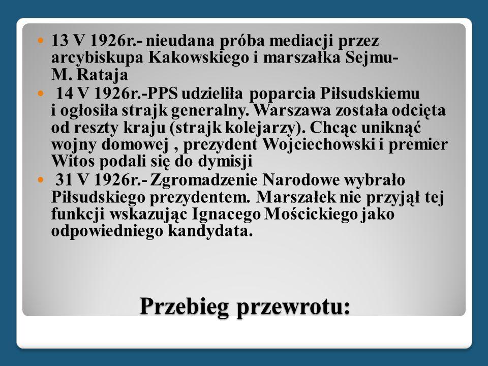 13 V 1926r.- nieudana próba mediacji przez arcybiskupa Kakowskiego i marszałka Sejmu- M. Rataja
