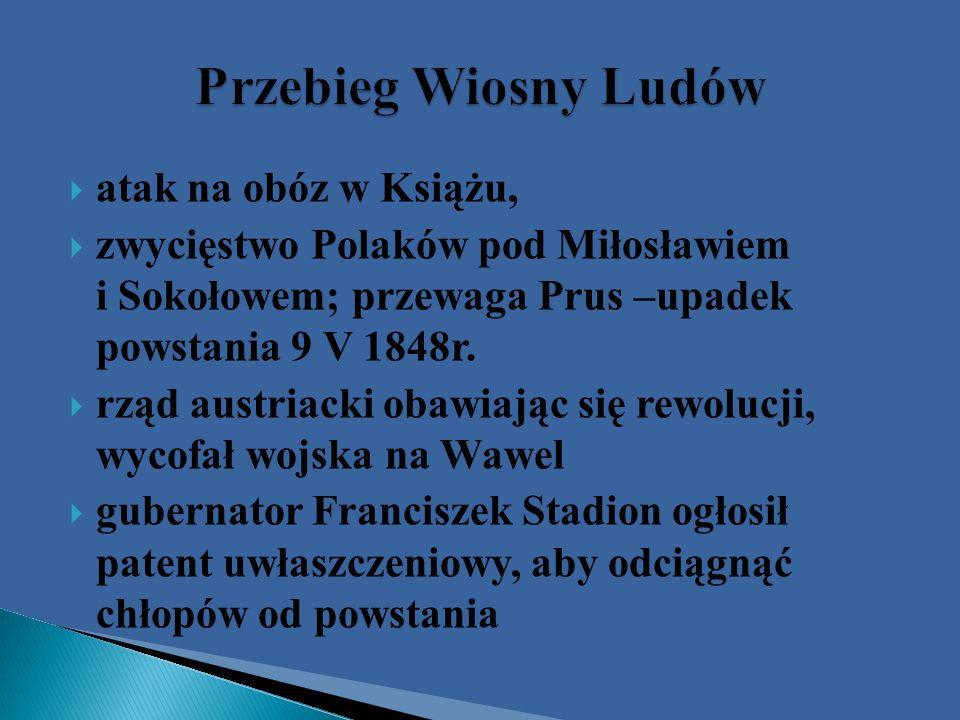 Przebieg Wiosny Ludów atak na obóz w Książu,