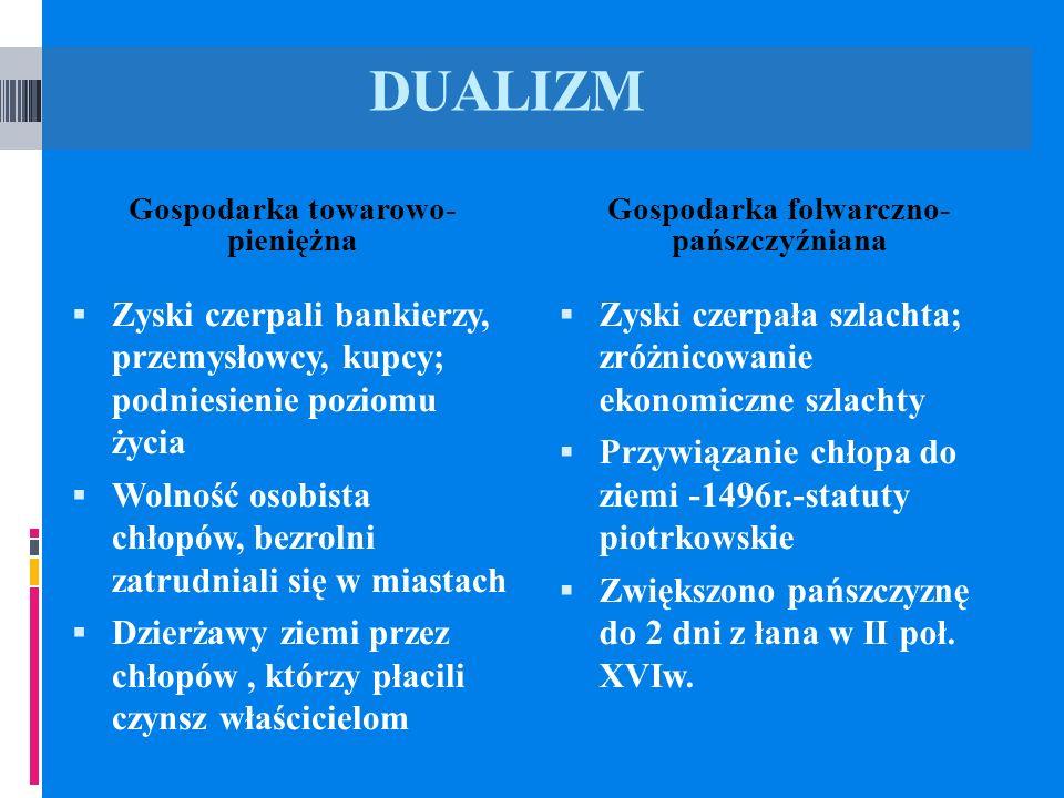 Gospodarka towarowo- pieniężna Gospodarka folwarczno- pańszczyźniana