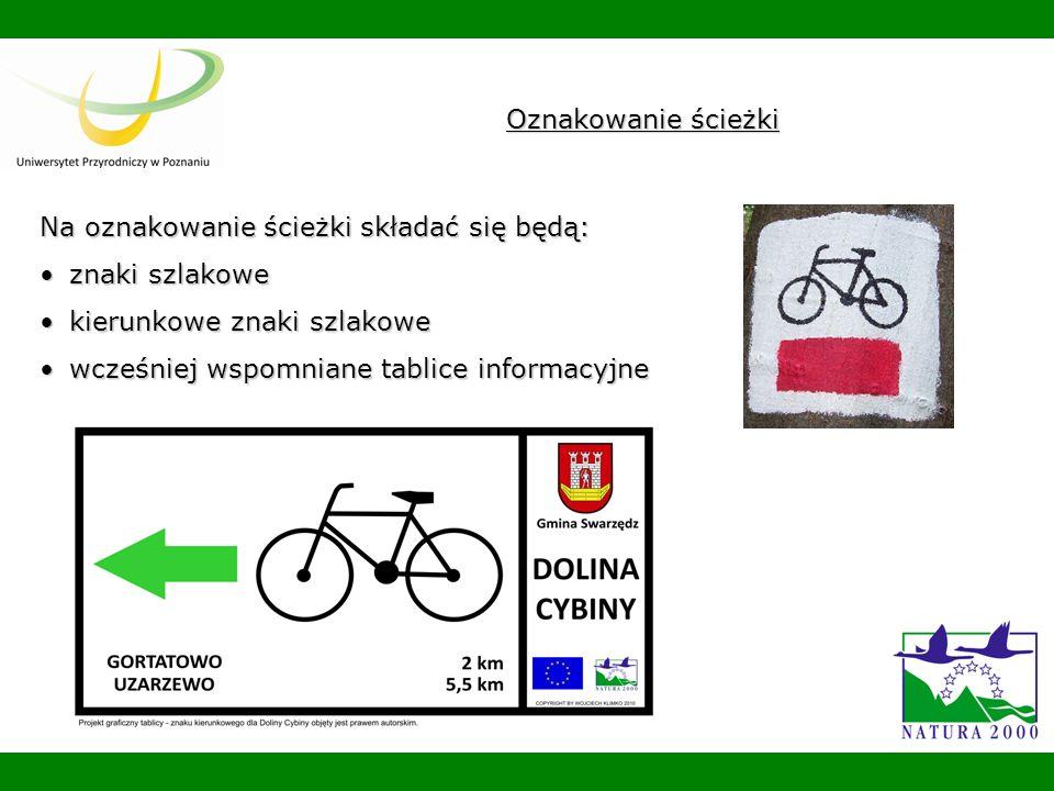 Oznakowanie ścieżki Na oznakowanie ścieżki składać się będą: znaki szlakowe. kierunkowe znaki szlakowe.