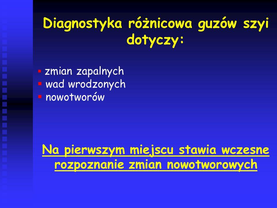 Diagnostyka różnicowa guzów szyi dotyczy: