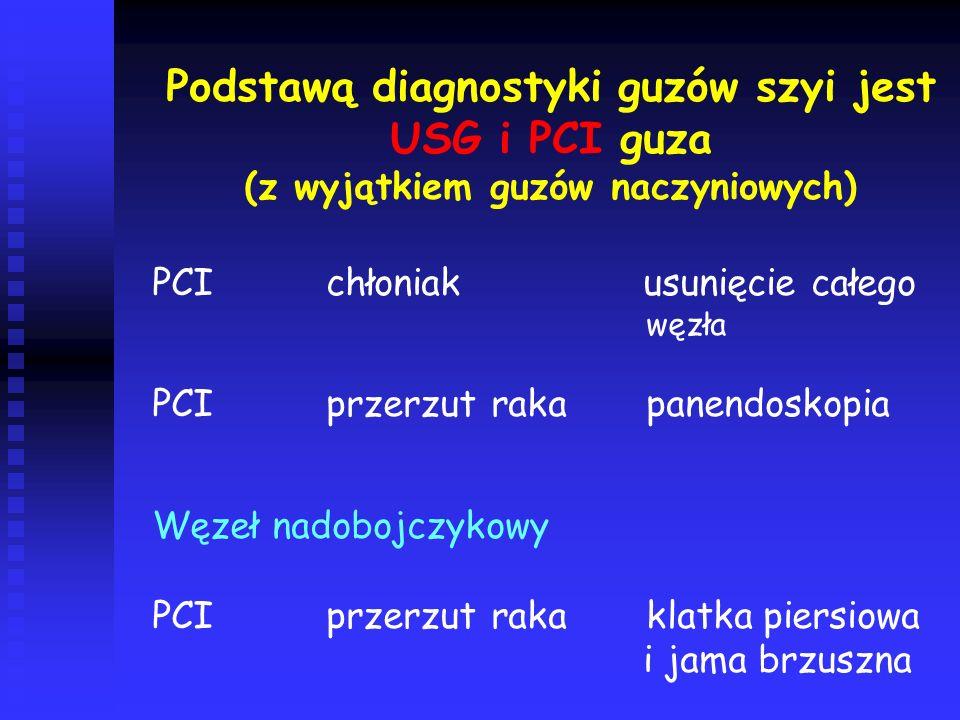 Podstawą diagnostyki guzów szyi jest USG i PCI guza