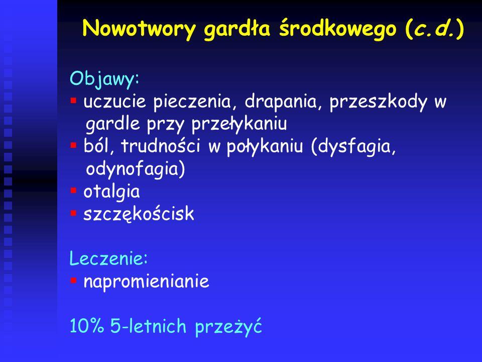 Nowotwory gardła środkowego (c.d.)