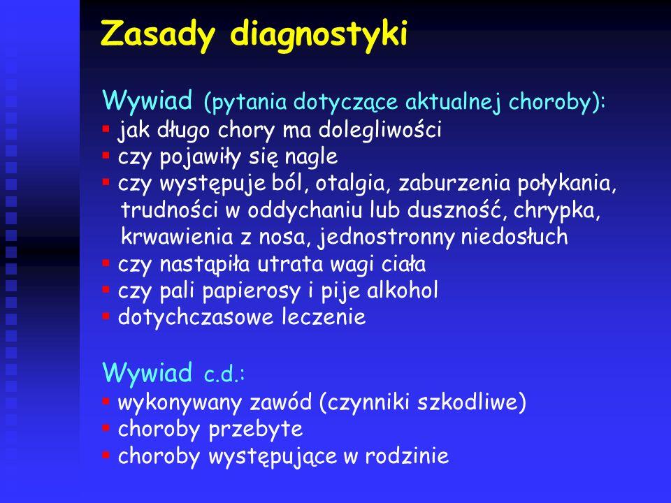 Zasady diagnostyki Wywiad (pytania dotyczące aktualnej choroby):