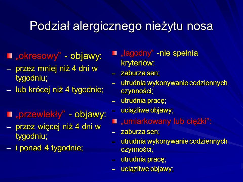 Podział alergicznego nieżytu nosa