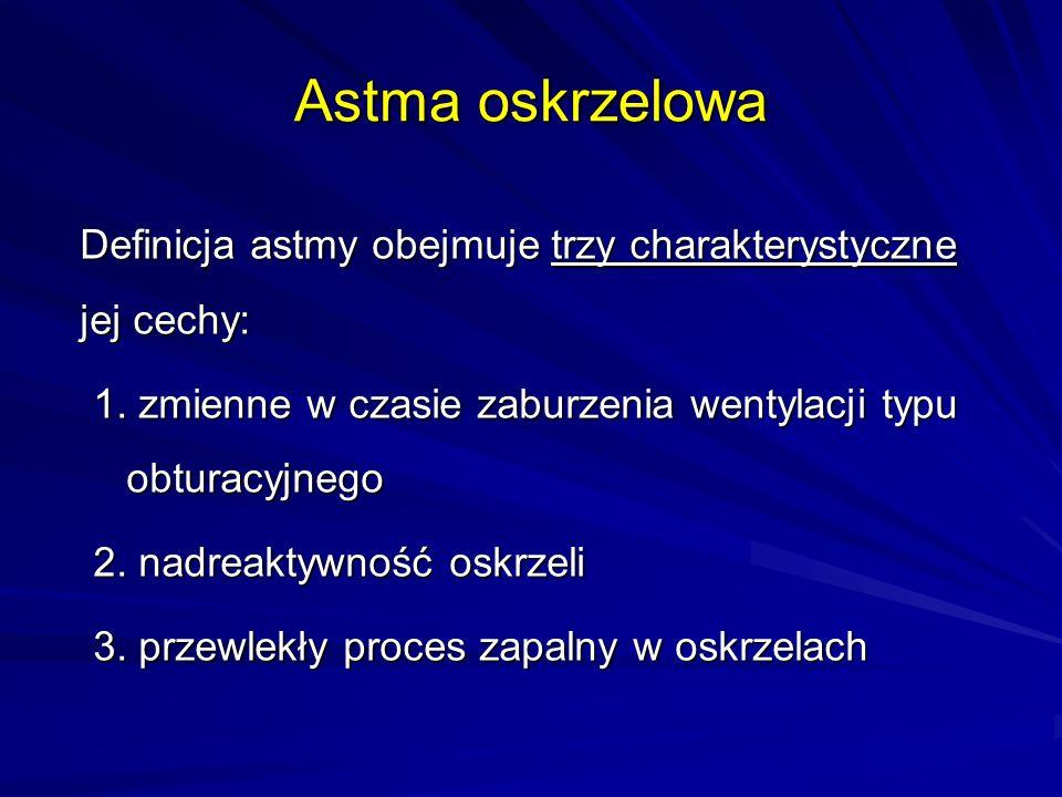 Astma oskrzelowa Definicja astmy obejmuje trzy charakterystyczne jej cechy: 1. zmienne w czasie zaburzenia wentylacji typu obturacyjnego.